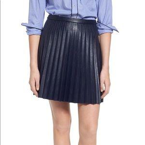 J. Crew black vegan leather pleated skirt